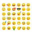 funny yellow round emoji icons set vector image