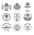 gentleman barber shop monochrome emblems vector image vector image