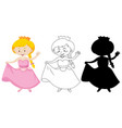 girl in princess costume in color and outline vector image vector image