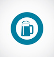 glass of beer icon bold blue circle border vector image vector image