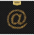 Gold glitter icon of e-mail isolated on vector image vector image