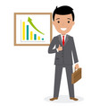 happy businessman with graphics vector image