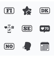 Language icons FI DK SE and NO translation vector image vector image