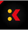 letter k logo arrow with two dots icon design vector image
