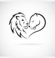male lion and female lion design on white vector image vector image