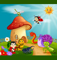 many insect and a mushroom house in forest vector image