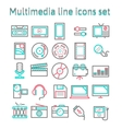 Multimedia line icons set vector image vector image