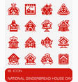 national gingerbread house day icon set vector image