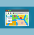navigation maps in browser window vector image