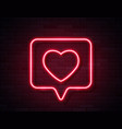 neon red glowing heart in spech bubble banner on vector image