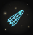 neon rocket icon in line style vector image