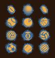 orange sport balls grunge vector image vector image
