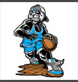 panda basket ball hand drawing vector image