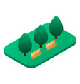 park bench place icon isometric style vector image