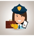 police with portfolio and coins isolated icon vector image
