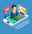 professional accountant isometric composition vector image