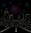 road in the night city fireworks in the night sky vector image
