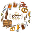 round frame with beer icons vector image