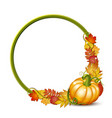 round frame with orange pumpkins and autumnal vector image vector image