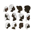 set abstract portrait womem and men with vector image vector image