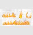 set burning campfires vector image vector image