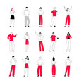 set business people in different positions vector image vector image