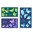 set butterfly business cards banners vector image vector image