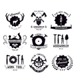 set vintage carpentry tool labels and logo vector image