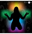 Silhouette of a woman doing meditation vector image vector image