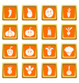 smiling vegetables icons set orange vector image vector image