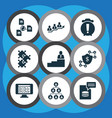 teamwork icons set with puzzle man on top vector image