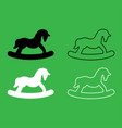 toy horse icon black and white color set vector image vector image