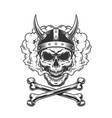 vintage viking skull wearing horned helmet vector image vector image
