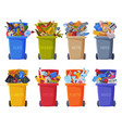 waste sorting set trash cans with sorted vector image vector image