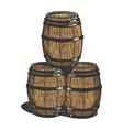wine beer barrels engraving vector image