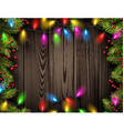 Wooden background with Christmas lights vector image