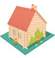 wooden house with a red roof vector image