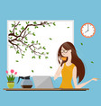 young woman enjoying morning coffee vector image vector image