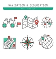 Different navigation icons set with rounded vector image