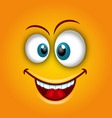 happy emoticon with open mouth and smiling vector image