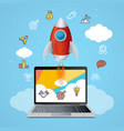 success start up concept space ship rocket and vector image