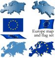 Europe map and flag set vector image