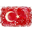 old grunge flag of turkey vector image