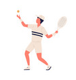 active cartoon man in sportswear tossing up ball vector image vector image