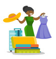 african-american woman packing clothes in suitcase vector image