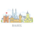 basel switzerland - old town city panorama vector image vector image