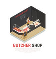 butcher shop isometric composition vector image vector image