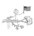 cartoon man waving flag united states vector image vector image