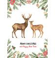 christmas reindeer with a green fir branch vector image