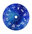 circle with signs of zodiac on watercolor vector image vector image